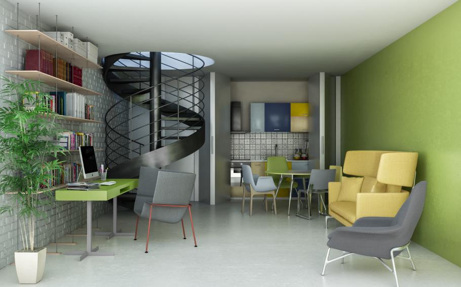 progetto soggiorno con parete aperta della cucina