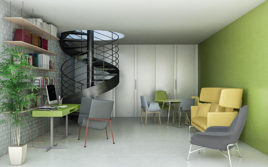 progetto soggiorno con parete chiusa della cucina